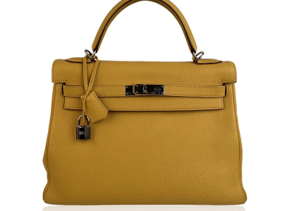 Hermes Yellow Leather Kelly 32 Retourne Top Handle Bag Satchel