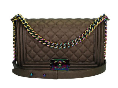 Chanel Old Medium Boy Bronze Iridescent Goatskin Rainbow Hardware 2016