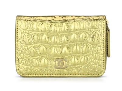 Chanel Small Coin Purse Metallic Gold Crocodile Embossed Calfskin Brushed Gold Hardware 2019