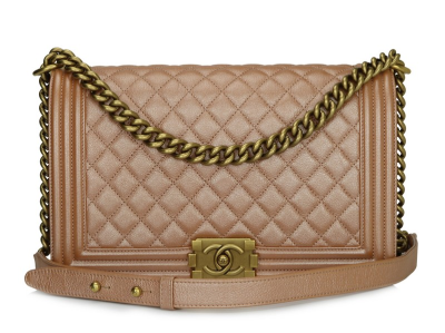 Chanel New Medium Boy Iridescent Rose Gold Calfskin Antique Gold Hardware 2015