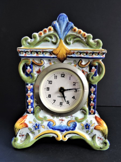 Vintage Rouen French Faience Hand Painted Clock