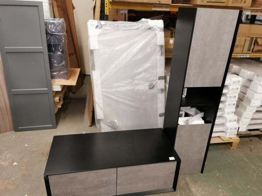 Wall-Hung Soxy 1200mm Concrete & Black Designer Vanity Unit w/matching 1700mm Tallboy Cabinet