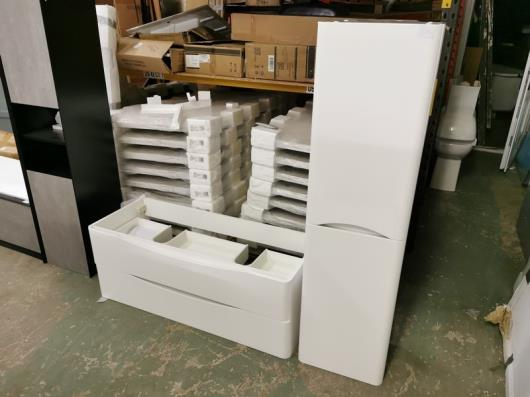 1200 x 480mm W/H Two-Drawer White Designer Vanity Unit + 1500mm Tallboy Cabinet RRP £399