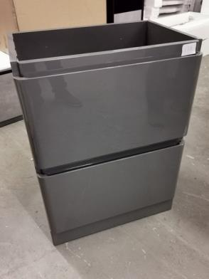 600 x 450d x 800mm high Grey Gloss Two Drawer Vanity Unit RRP £199